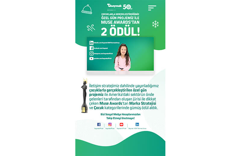 BAYMAK'A MUSE AWARDS'TAN 2 ÖDÜL
